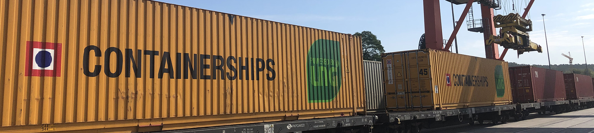 Containers on a train