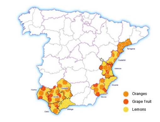 Map of Spanish citrus growing areas