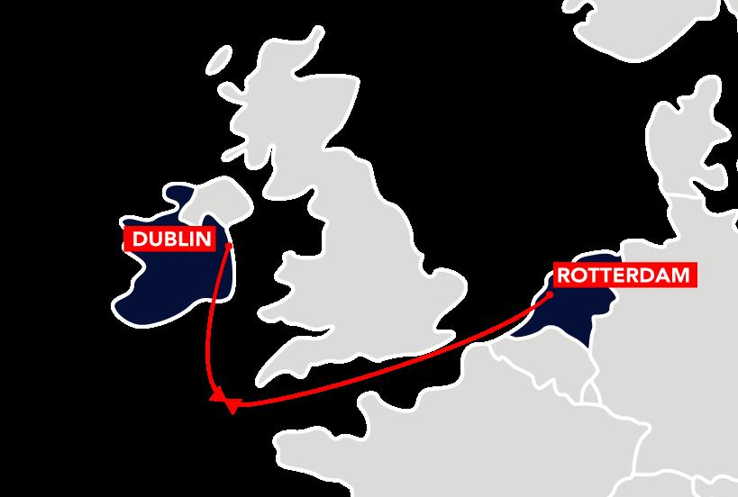 Dublin to Rotterdam Route