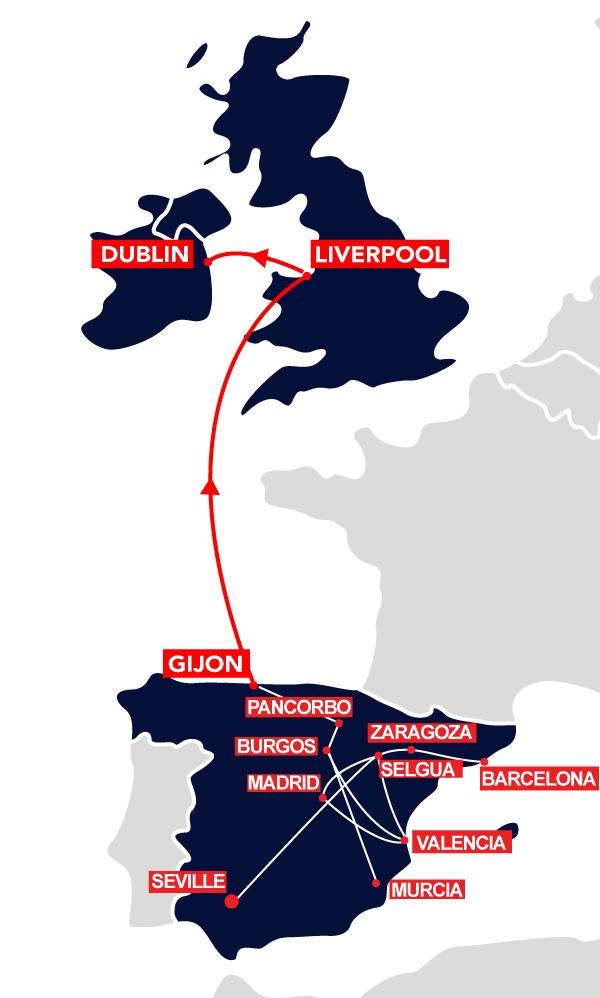 Gijon to UK Route