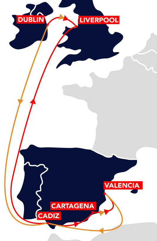Spain to UK and Ireland Route